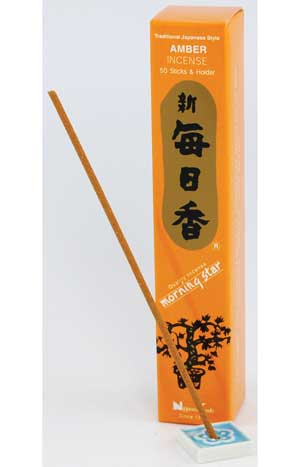 Amber Morning Star Stick Incense & Holder (50 sticks)