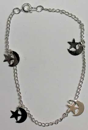 Silvertone Anklet w/Stars & Moons