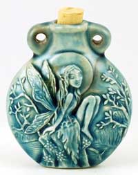 Tree Fairy Raku oil bottle