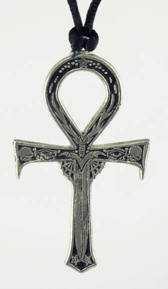 Pewter Ankh With Skulls