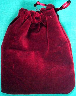 Small Burgundy Velveteen Bag (3 x 4)